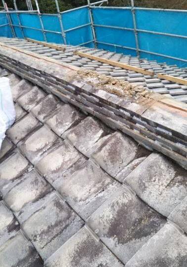 瓦屋根 棟積み替え工事
