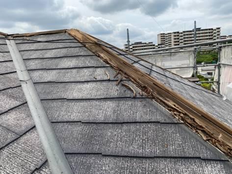 屋根 棟木交換作業
