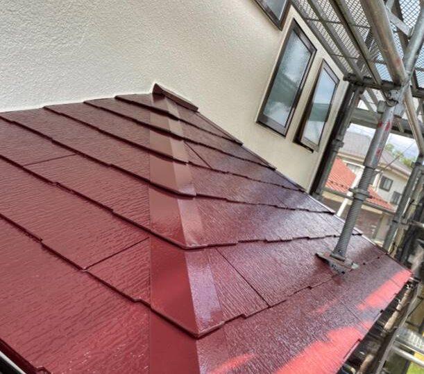 下屋根 上塗り